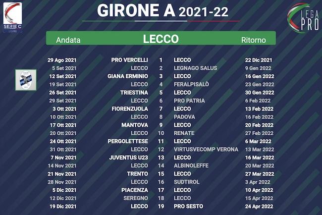 calendario lecco 2021-2022