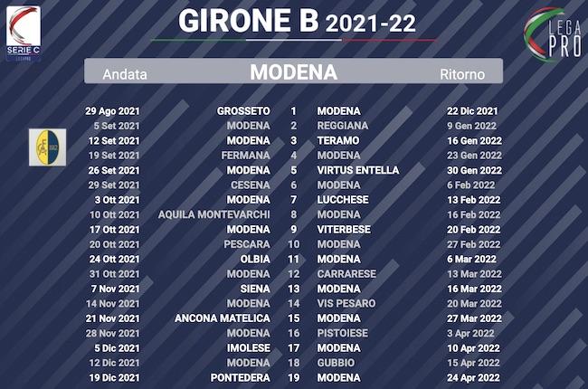 calendario modena 2021-2022