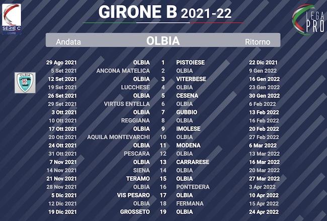 calendario olbia 2021-2022