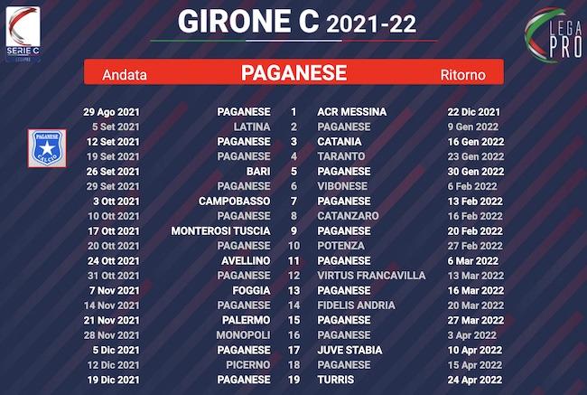 calendario paganese 2021-2022