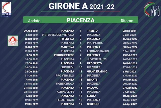 calendario piacenza 2021-2022