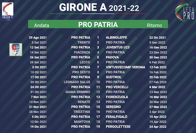 calendario pro patria 2021-2022