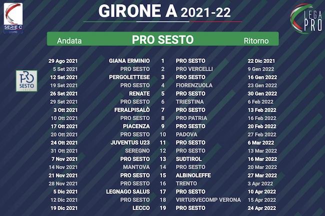calendario pro sesto 2021-2022