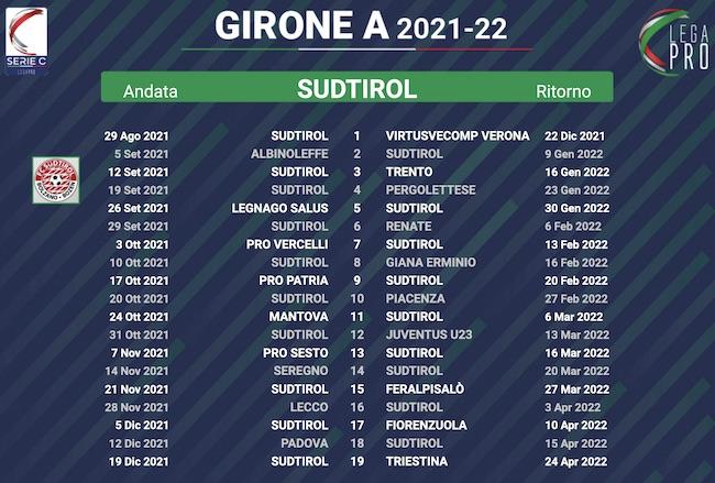 calendario sudtirol 2021-2022