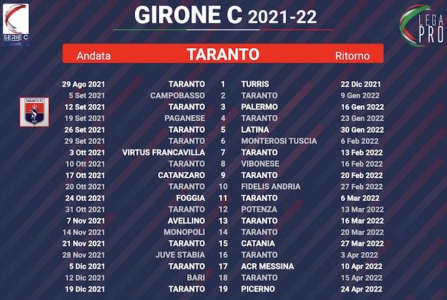calendario taranto 2021-2022