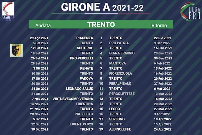 calendario trento 2021-2022