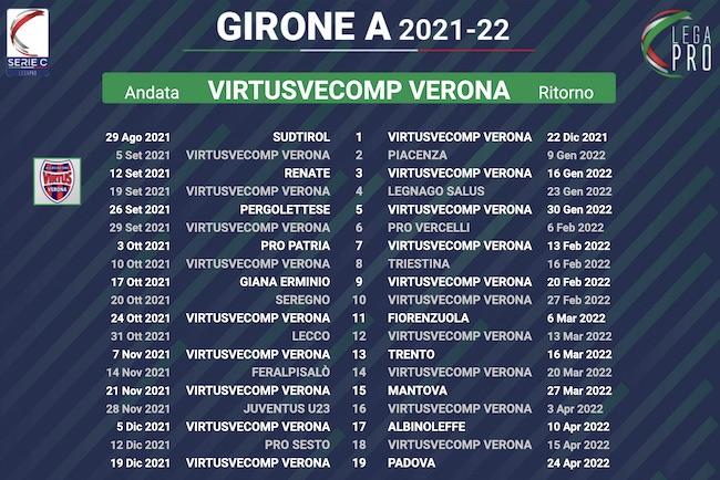 calendario virtusvecomp verona 2021-2022
