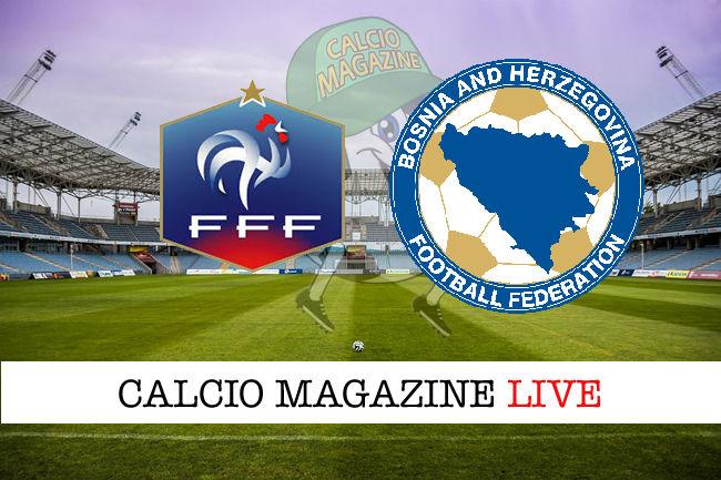 Francia Bosnia cronaca diretta live risultato in tempo reale