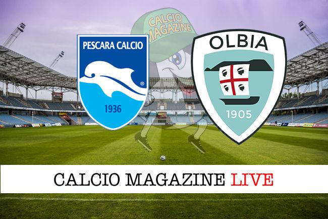Pescara Olbia cronaca diretta live risultato in tempo